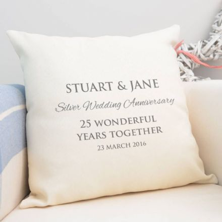 Personalised Silver Wedding Anniversary Cushion